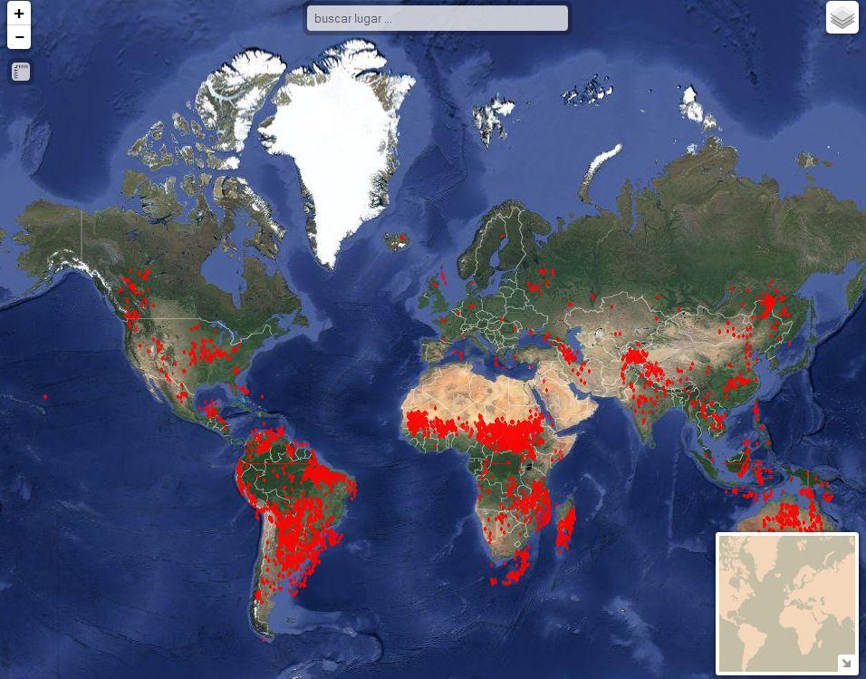 Visor De Los Ultimos Incendios Detectados En El Mundo Geamap Com