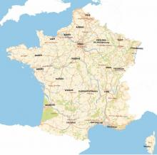 Carte topographique de la France